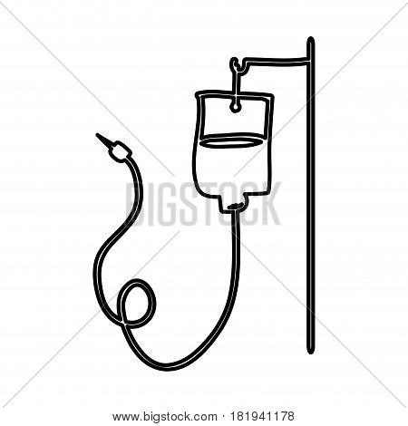 monochrome hand drawn contour of hanging bag for blood donation vector illustration