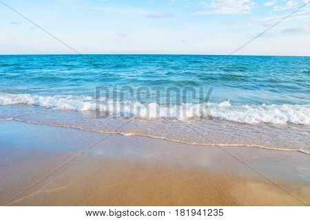 Soft wave on the sandy beach of tropical sea Rayong Thailand