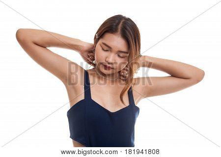 Sleepy Young Asian Woman Yawn.