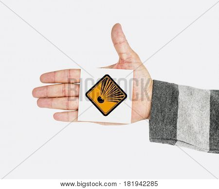 Hand Shoot Showing Explosion Danger Sign Attention Note