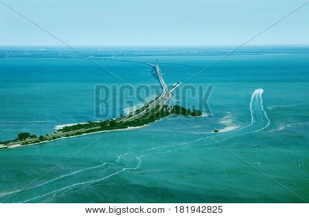 Aerial view on Sunshine Skyway Bridge close to St. Petersburg Florida poster