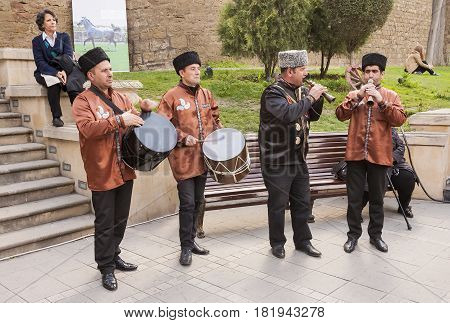 Area of youth, Baku. Azerbaijan - March 23, 2017. Musicians play on national instruments during the holiday.