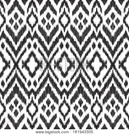 Vector illustration of the black and white colored ikat ornamental seamless pattern. Design in modern ethic style.