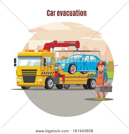 Transport evacuation service template with worker holding toolbox and tow truck with loaded car vector illustration