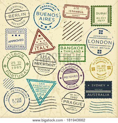 Colorful vintage postage stamps set from different countries of round rectangular and triangular shapes isolated vector illustration