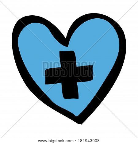 color hand drawn silhouette of blue heart with cross inside vector illustration