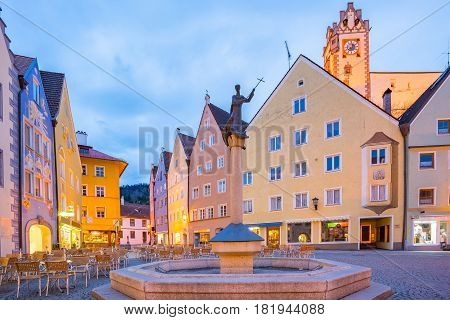 Fussen town at night in Bavaria travel Germany.