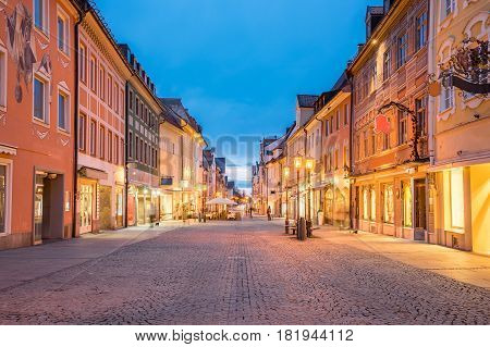 Night Of Fussen Town In Bavaria, Germany