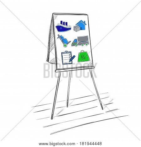 Sketch logistic business presentation template with colored transport and delivery elements on flipchart isolated vector illustration
