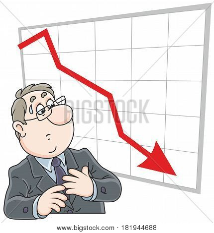 Trader looking at his chart with fallen indicators