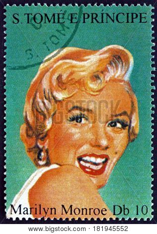 SAO TOME AND PRINIPE - CIRCA 1994: a stamp printed in Sao Tome and Principe shows Marilyn Monroe American Movie Star circa 1994