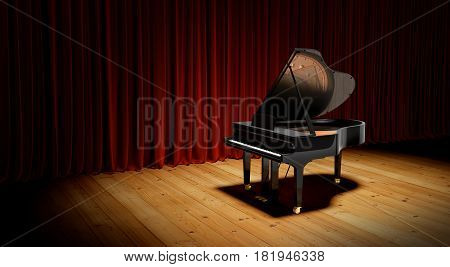 Piano On The Flloor Before The Curtain.