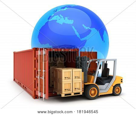 Loading Red Cargo Container