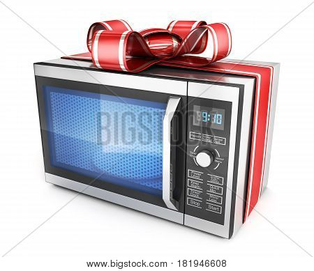 Microwave And Red Ribbon And Bow