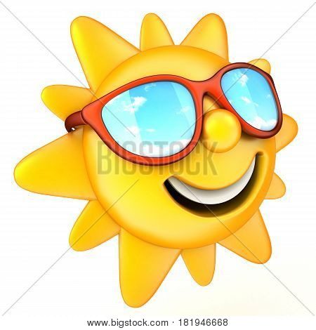 Sun and red glasses on white background. 3d illustration