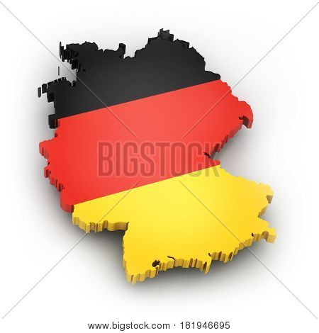 Territory and flag of the country of Germany on a white background. 3d illustration