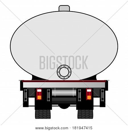 The rear end of a large fuel tanker over a white background