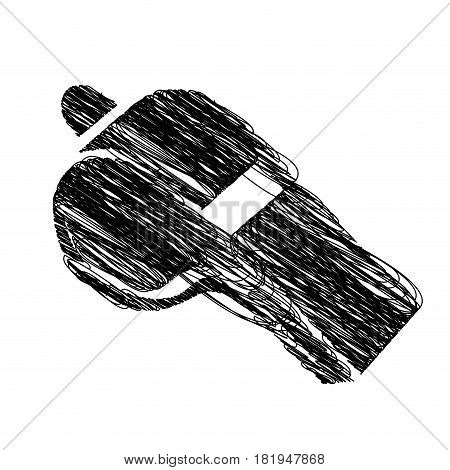 monochrome hand drawn sketch of whistle icon vector illustration