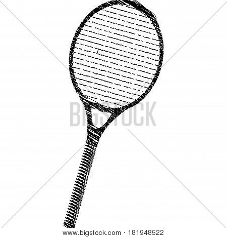 silhouette drawing tennis racket element sport vector illustration