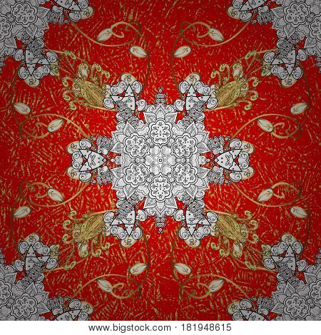 Floral tiles. Islamic design. Oriental ornament. Golden pattern on red background with golden elements. Vector golden textile print.