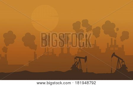 Bad environment with industry and fog vector illustration