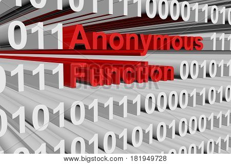 Anonymous function in the form of binary code, 3D illustration