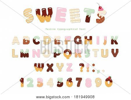 Sweets bakery font design. Funny latin alphabet letters and numbers made of ice cream, chocolate, cookies, candies. For kids birthday anniversary or baby shower decoration. Vector.