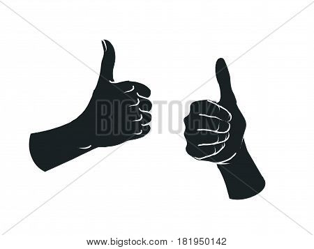 Gesture. Like sign. Two female hands with thumbs up. Vector illustration in sketch style isolated on a white background. Making approval signal by hands. White lines and dark gray silhouette.