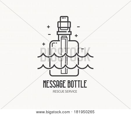 Sea rescue service logo or label template in linear style. Message bottle logotype in thin line design. Shipwreck letter outline icon.