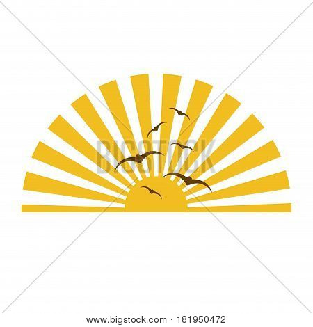 colorful sunset with rays and birds vector illustration