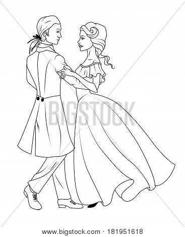 Coloring book: Couple dancing waltz on a white background