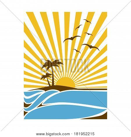 colorful rectangular background sunset in the beach with palms and gulls vector illustration