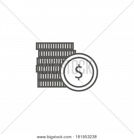 Business icon, management. Simple vector icon of a stack of coins. Line art style.