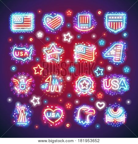 Set of Fourth of July signs with vibrant sparkles makes it quick and easy to customize your USA Independence Day project. Used neon vector brushes included.