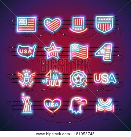 Set of Fourth of July neon signs makes it quick and easy to customize your USA Independence Day project. Used neon vector brushes included.