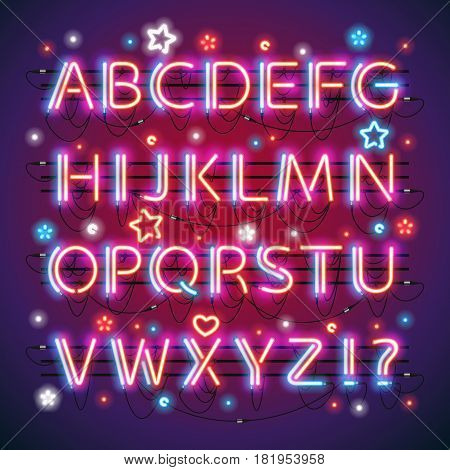 Glowing double neon red blue alphabet makes it quick and easy to customize your USA Independence Day project. Used neon brushes included. There are fastening elements in a symbol palette.