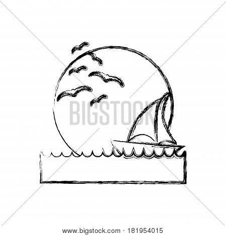 blurred silhouette sunset in the ocean with boat over waves vector illustration