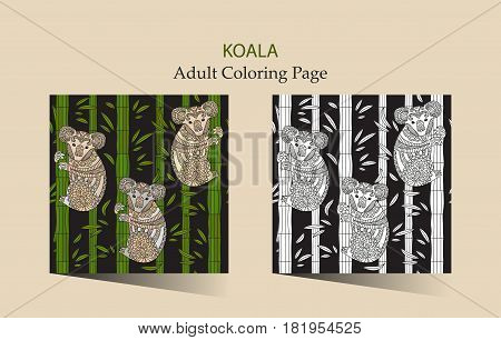 Hand drawn vector zentangle coloring page for adults with cute koala. Cute animal seamless patterns