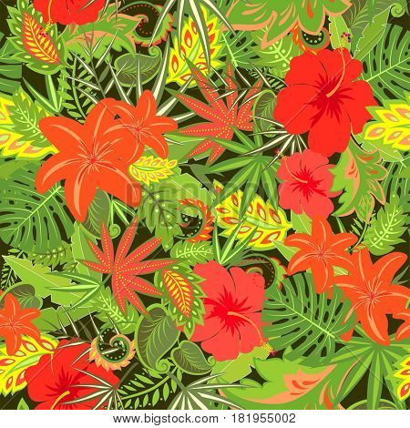 Tropical wallpaper with hibiscus, lily and palm leaves