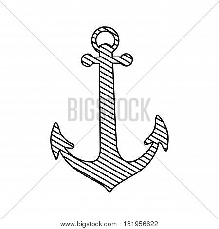 monochrome silhouette of anchor to striped vector illustration