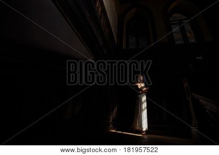 Indoor Summer Portrait Of Young Pretty Cute Girl. Beautiful Woman Posing Beside Fairytale Window Ins