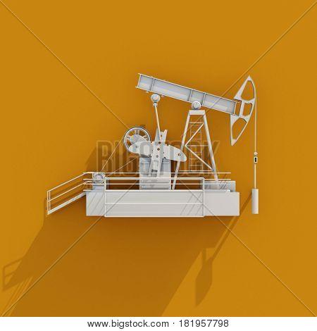 3d render: Oil Drilling Rig Icon on Orange Background