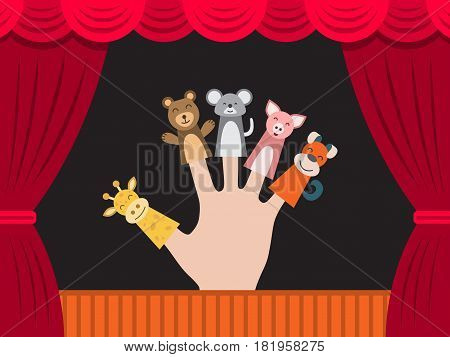 Puppet theater for finger toys animals. Doll is wearing on the fingers of the human hand and all is depicted on the background of a theatre stage curtain