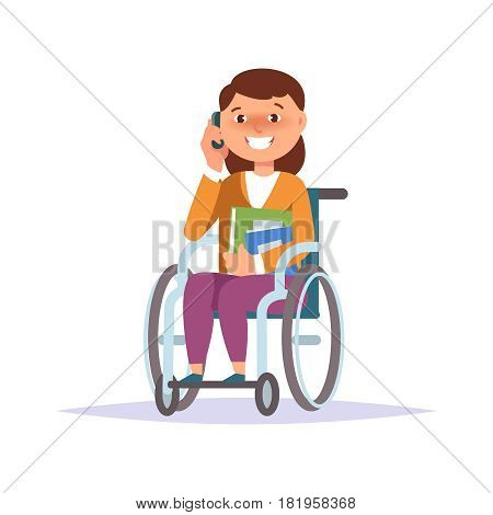 Vector illustration of disabled kid girl student in child wheelchair with texbook and gadget isolated. Cartoon style