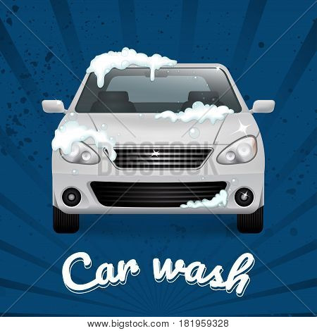 White auto in foam. Front view. Car wash illustration with blue striped background. Applicable for advertising flyer, banner, poster.Vector.