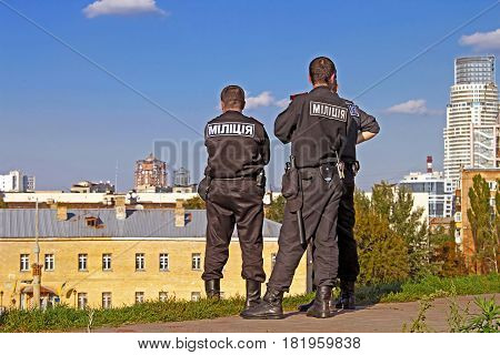 KYIV, UKRAINE - SEPTEMBER 29, 2012: Militsiya in Kyiv-pechersk fortress. The Militsiya (Ukrainian's national police service) was transformed on 3 July 2015 into the National Police of Ukraine