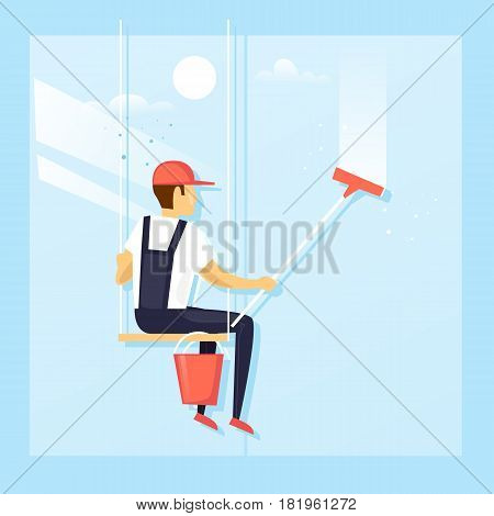 Window washer of modern skyscraper. Flat design vector illustration.