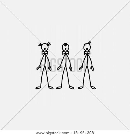 Cartoon icons of sketch stick singer figures trio vector people in cute miniature scenes.