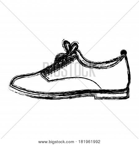 monochrome blurred contour of male leather shoe with shoelaces vector illustration