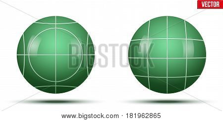 Classic Green Bocce Balls. Park and outside game. Vector Illustration on isolated white background